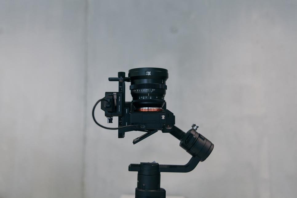 Close up image of a professional camera.